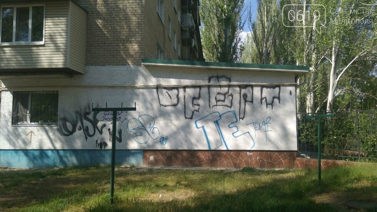 В Мелитополе вандалы снова разрисовали частную пристройку, фото-2, Фото 0619