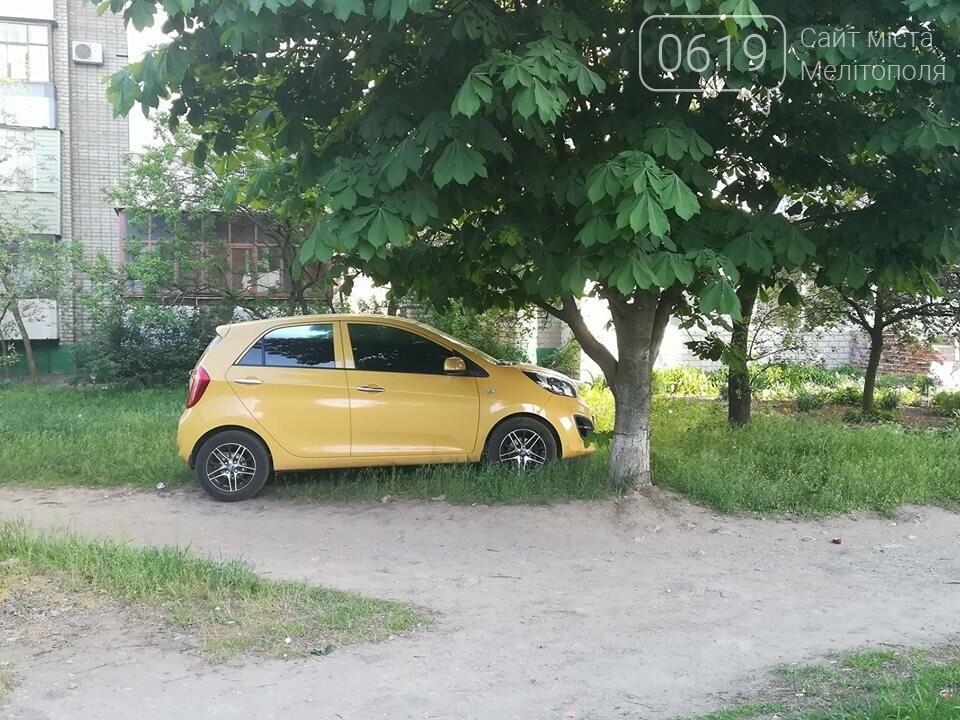 В Мелитополе автохам припарковал автомобиль на зеленой зоне , фото-1, Фото сайта 0619