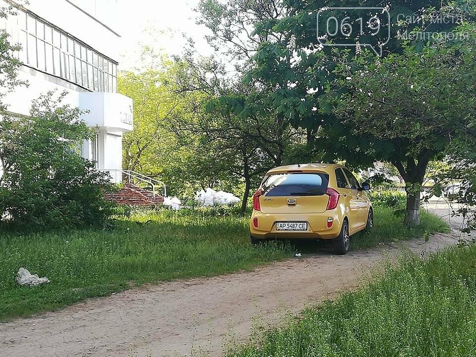 В Мелитополе автохам припарковал автомобиль на зеленой зоне , фото-3, Фото сайта 0619