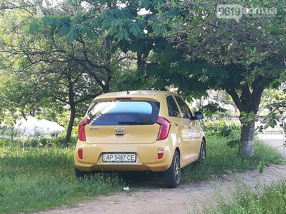 В Мелитополе автохам припарковал автомобиль на зеленой зоне , фото-2, Фото сайта 0619