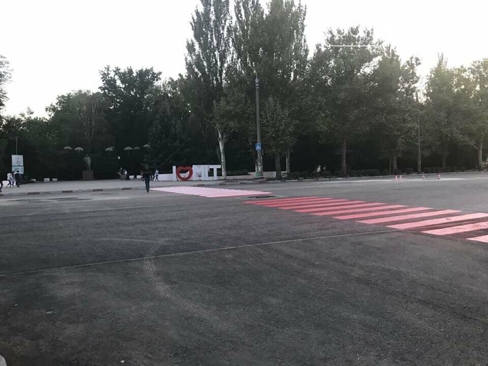 В Мелитополе на новый асфальт нанесли разметку, фото-3
