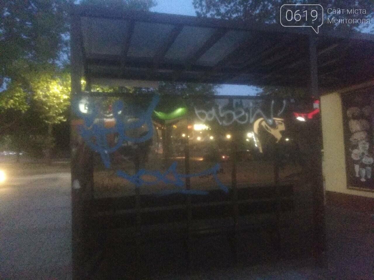 В Мелитополе вандалы обрисовали остановку общественного транспорта , фото-2