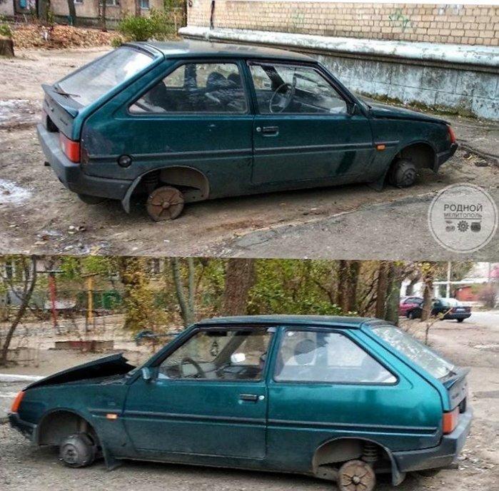 В Мелитополе злоумышленники разобрали припаркованное авто, - ФОТО , фото-1
