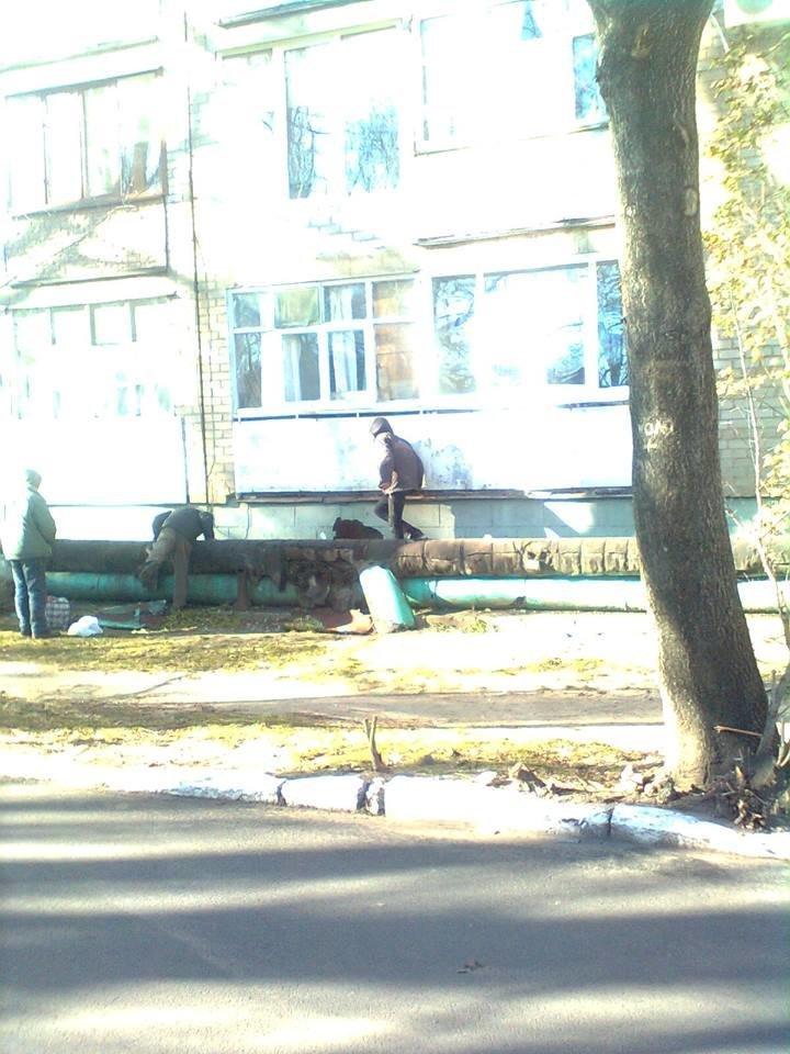 В Мелитополе бездомные демонтировали обшивку теплотрассы , фото-1, Фото А. Николаенко
