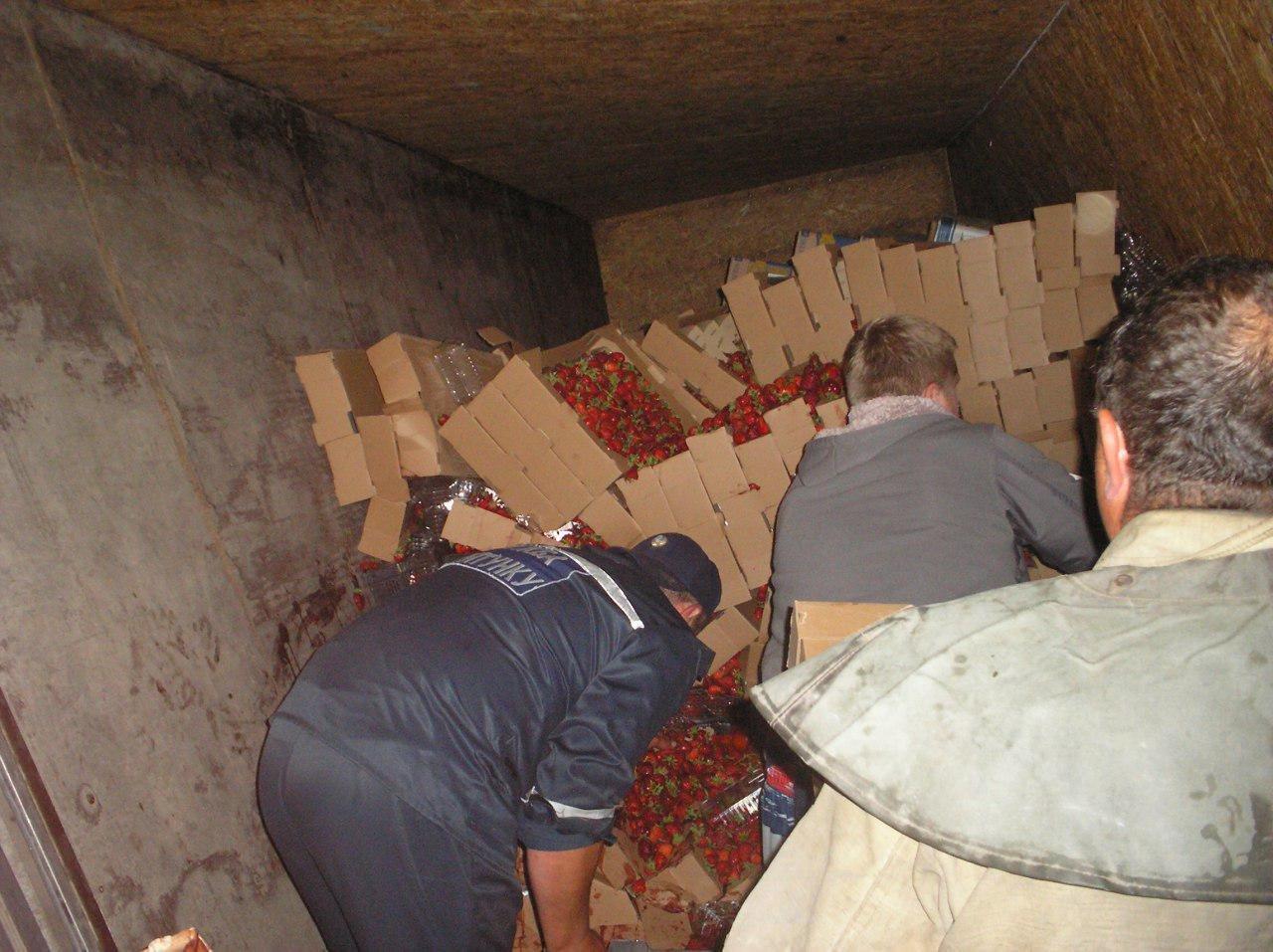 В Приазовском районе перевернулся грузовик , фото-1