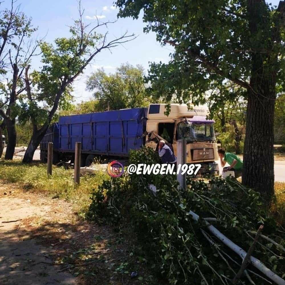 В Мелитополе грузовик сбил электроопору и врезался в дерево, фото-2
